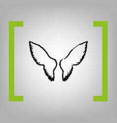 wings sign black scribble vector image