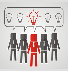 he heads of five people with bulbs the concept of vector image