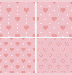 Set of seamless patterns with hearts vector