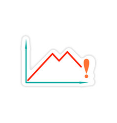 Stylish sticker on paper falling economic schedule vector