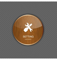 Setting wood application icons vector
