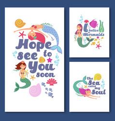 Cute kids nautical cards marine childrens vector