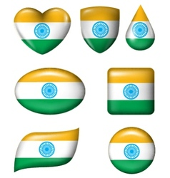 Indian flag in various shape glossy button vector
