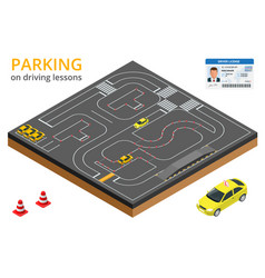 Trained in driving school concept parking on vector