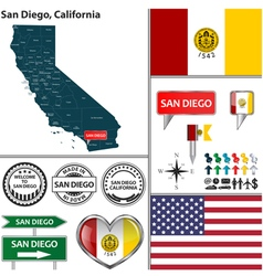 San diego california set vector