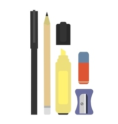 Stationery writing tools set no outline vector