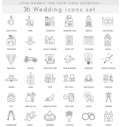 Wedding ultra modern outline line icons for vector