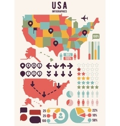 United States of America USA map with infographics vector image