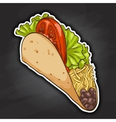 Taco color picture sticker vector