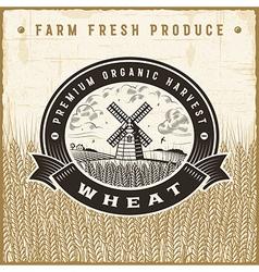 Vintage wheat harvest label vector image