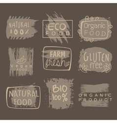 Eco glute free bio food grey logo set vector