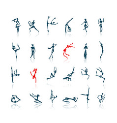Active people set sketch for your design vector