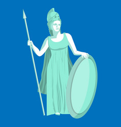 athena or athene marble statue on blue background vector image vector image