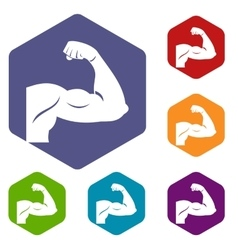 Biceps icons set vector image