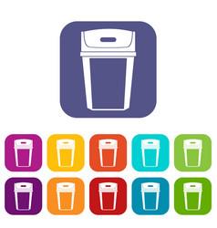 Big trashcan icons set vector