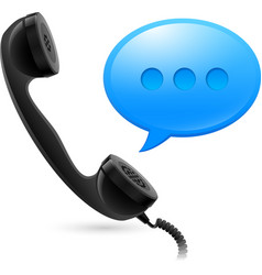 Black handset and blue speechbox for design on vector