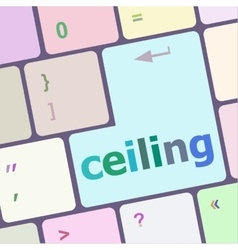 ceiling word on computer pc keyboard key vector image vector image