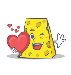 Cheese character cartoon style with heart vector
