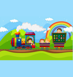Children riding on train vector