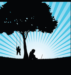 Children silhouette sitting under the tree in vector