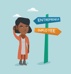 Confused african woman choosing career pathway vector
