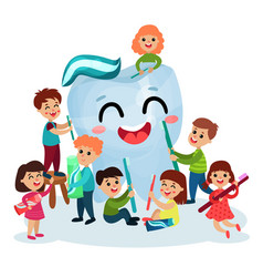 cute little kids cleaning giant white smiing tooth vector image vector image