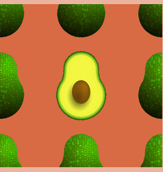 Cutted ripe avocado seamless pattern vector