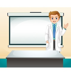Doctor and white screen in the room vector