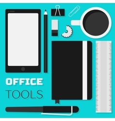 Flat design office tools vector image