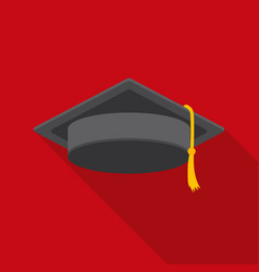 Graduation cap icon in flat style isolated on vector