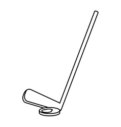 Hockey game stick and puck outline vector