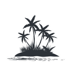 Island with palm trees silhouette vector