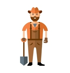 Man with shovel ready to work Flat style vector image vector image