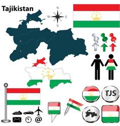 Map of Tajikistan vector image vector image