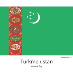 National flag of Turkmenistan with correct vector image vector image