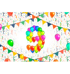 Number nine made up from colorful balloons on vector