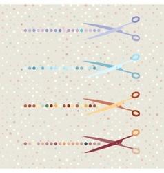retro scissors and cut lines set on polka dot vector image
