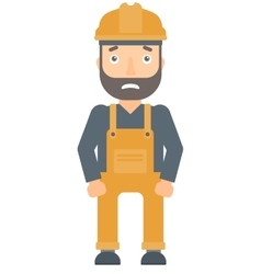 Scared industrial worker in hard hat vector