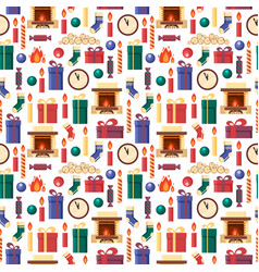 seamless pattern christmas elements - gifts clock vector image