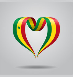 senegalese flag heart-shaped ribbon vector image vector image