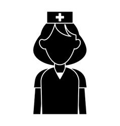 Silhouette nurse uniform hat cross attention vector