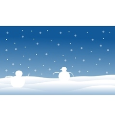 Silhouette of snowman on the hill christmas vector