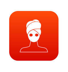 Spa facial clay mask icon digital red vector