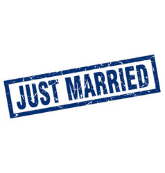 Square grunge blue just married stamp vector