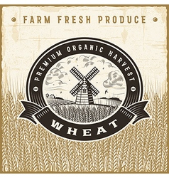 Vintage wheat harvest label vector image vector image