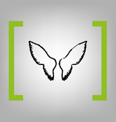 Wings sign black scribble vector
