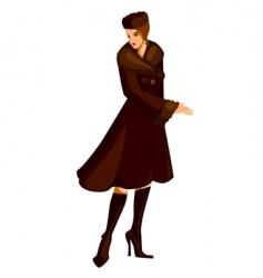 woman in fur coat vector image vector image