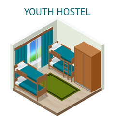 youth hostel building facade backpack double vector image vector image