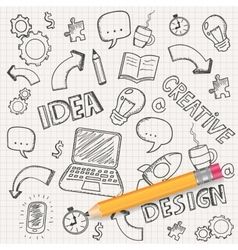 Idea concept with pencil and doodle sketches vector