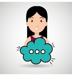 woman cartoon cloud speack chat vector image